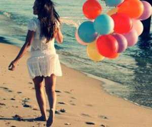 balloons, beach, and girl image