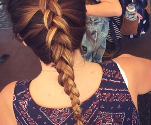 braid, brownhair, and hair image