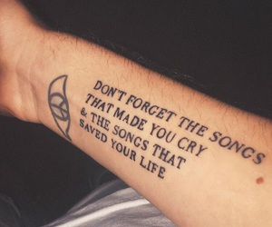 quote, tattoo, and music image