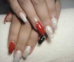 black, nail, and red image