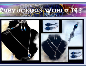 crystal, blueearrings, and bluenecklace image