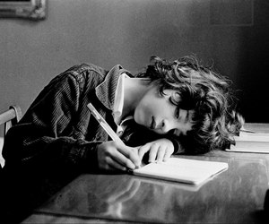 girl, black and white, and book image