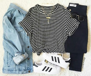 adidas, jeans, and sripes image
