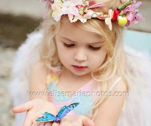 butterfly, baby, and flowers image