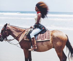 beach, curly hair, and horse riding image