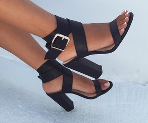 black, sandals, and shoes image