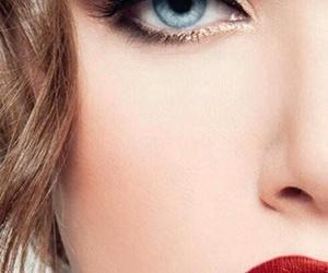 blue eyes, eyeliner, and make up image