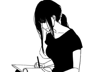 girl, manga, and black and white image