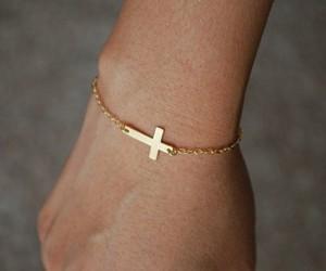 cross, bracelet, and gold image