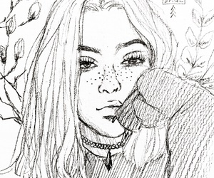 drawing, beautiful, and girl image