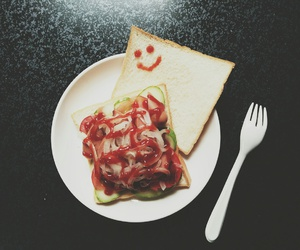smile, morning, and sanwich image