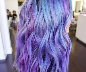 purple, blue, and hair image