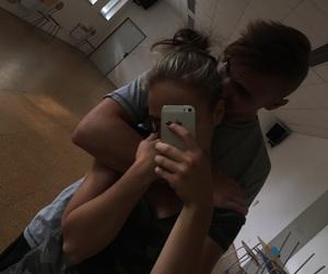 blonde, couple, and hug image
