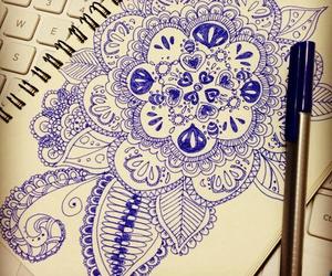 azul, dibujo, and flores image