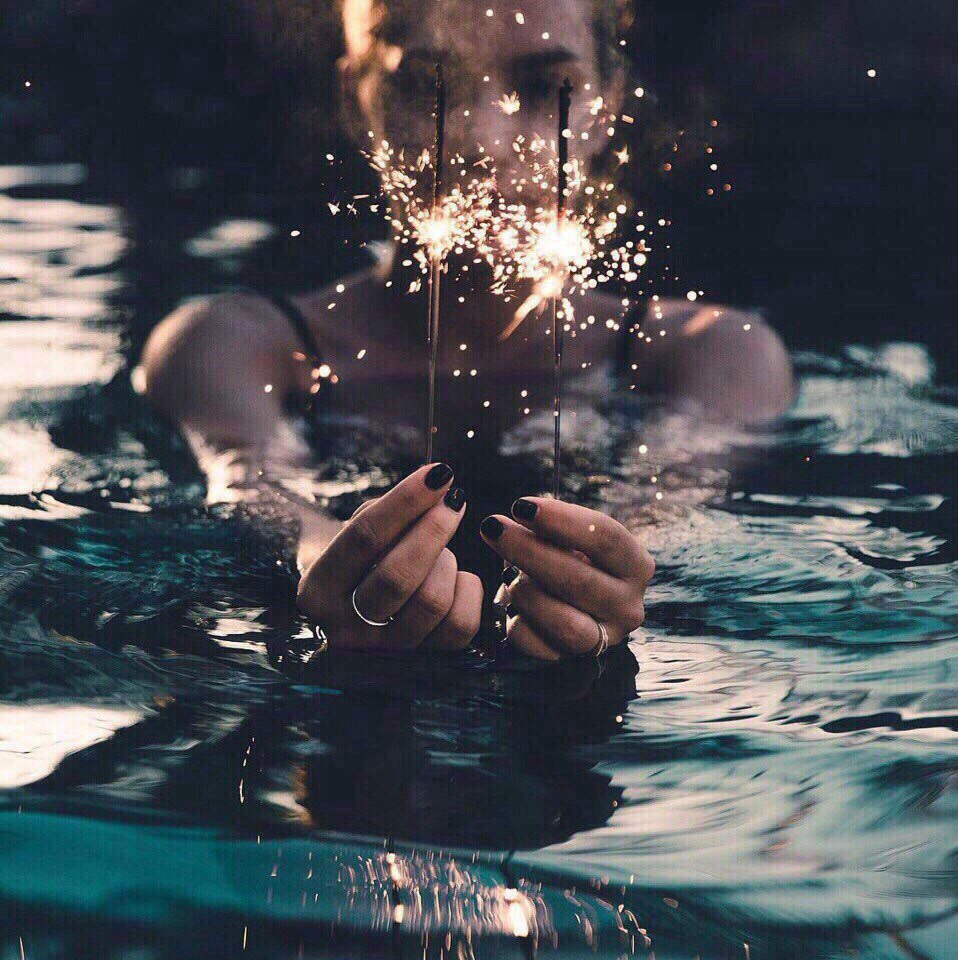 girl, light, and water image