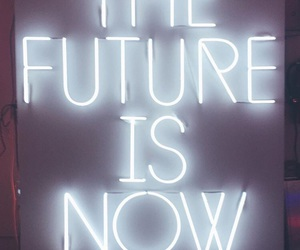 future, lights, and words image