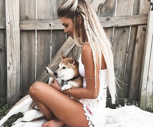 blonde, braid, and dog image