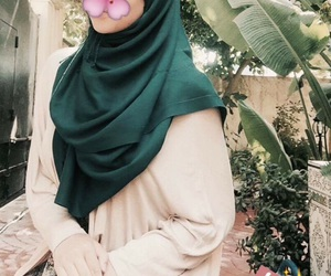 beauty, flower, and hijab image