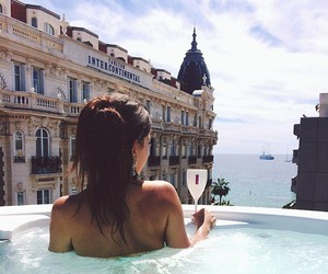 jacuzzi, woman, and sea image
