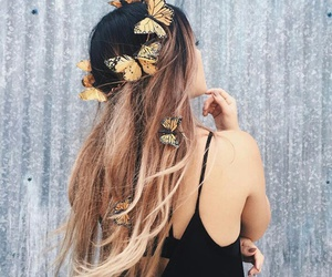 butterfly, hair, and fashion image