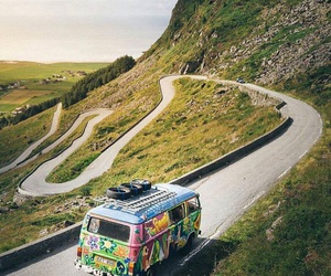 road, van, and hippy image