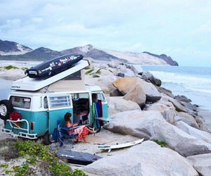 aesthetic, kombi, and surfing image