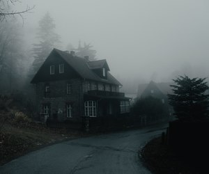 autumn, house, and dark image
