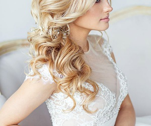 blonde, bridal, and curly image