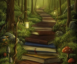 book, forest, and art image
