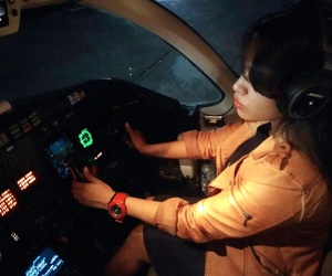 cockpit, girl, and hawker image