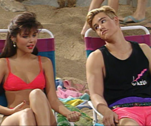 couple, saved by the bell, and beach image