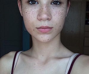 beauty, freckles, and girls image