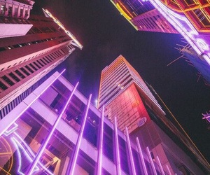 buildings, city, and neon lights image