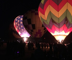 hot air balloon, night, and lights image