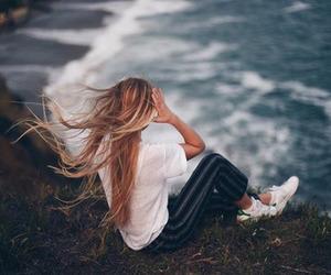 beach, hair, and girl image