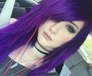 purple hair, dyed hair, and pastel image