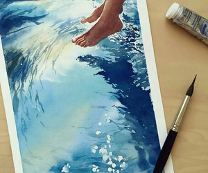 art, blue, and water image