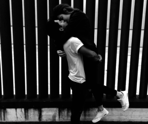 black and white, couple, and fashion image