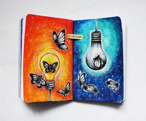art, butterflies, and diary image