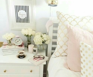 bedroom, flowers, and decor image