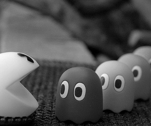 pacman, black and white, and game image