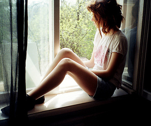 girl, skinny, and window image