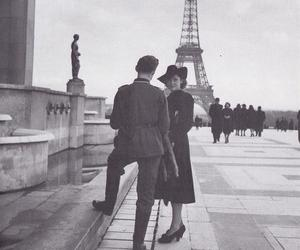 paris, black and white, and couple image