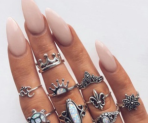 girl, rings, and nails image