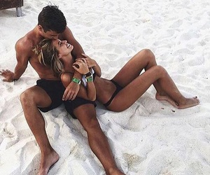 beach, couple, and happiness image