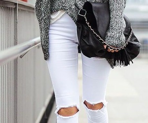 grey, white ripped jeans, and fashion and style image