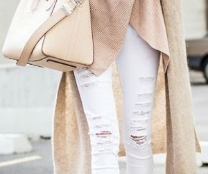 fashion, style, and white ripped jeans image