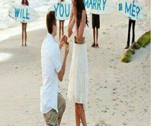 beach, will you marry me, and woman image