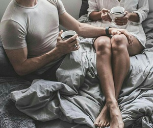 bed, coffee, and couple image