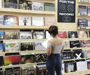 urban outfitters, blue high waisted jeans, and popular records image